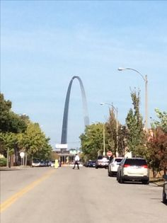 South of the Gateway Arch, facing North along second street, Near the Globe Drug Store and Billy's Diner