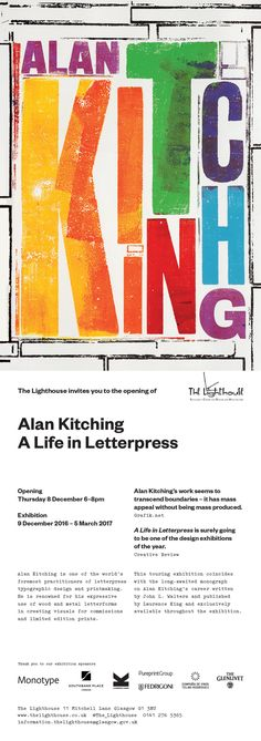 You are invited to the opening of Alan Kitching: A Life in Letterpress Exhibition Graphic Design Branding, Lettering Design, Graphic Design Illustration, Typography Letters, Typography Logo, Logos, Sign Fonts, Typographic Poster, Art Graphique