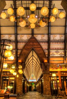 Aulani: A Disney Resort in Hawaii. I just took this photo in the lobby early one morning before sunrise.