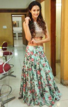 Disha Patani in Long Floral Skirt Bridal Lehenga, Lehenga Choli, Saree, Indian Dresses, Indian Outfits, Ethnic Outfits, Crop Top Designs, Indian Celebrities, Bollywood Celebrities