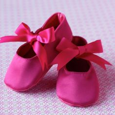 Girl Baby Shoes  Easter or Spring Hot Pink Ballet by litlluxuries, $12.00