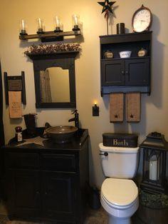 beth's country primitive home decor Primitive Homes, Country Primitive, Primitive Country Bathrooms, Primitive Bathroom Decor, Primitive Bedroom, Bathroom Wall Decor, Bathroom Ideas, Primitive Country Decorating, Bath Ideas