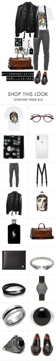 """Noëlla Adjoba for Men 🕷"" by theoneofakind ❤ liked on Polyvore featuring Y-3, EyeBuyDirect.com, Alexander McQueen, Speck, Dondup, Florsheim, BLK DNM, Fornasetti, Ralph Lauren and Berluti"