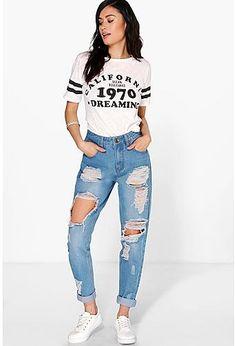 High waisted. Mom Jeans. Rotos