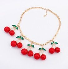 Wholesale 2014 Fashion lovely cherry Necklaces & Pendants Fashion Jewelry For Woman!2179(China (Mainland))
