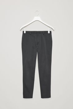 COS image 2 of Slim-fit cotton trousers in Dark Grey