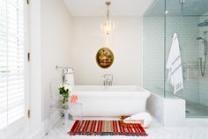 EMME Design is a Toronto-based residential interior decorating business with a wide-range of services including e-design and full service interior decorating. Bathroom Renos, Bathroom Ideas, Turkish Towels, Clawfoot Bathtub, Portfolio Design, Interior Decorating, House Design, Wallpaper, Modern
