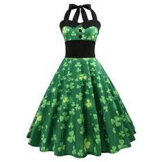 Vintage Pin Up Smocked Halter Party Dress - Green - 3859860219 Size S - Prom Dresses Design Vintage Dresses Online, Vintage Party Dresses, Vintage Outfits, Vintage Fashion, Dress Vintage, Vintage Jumpsuit, Day Dresses, Dress Outfits, Summer Dresses