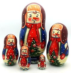Snowman Russian Nesting Dolls Hand Painted 5 Piece Set BuyRussianGifts http://www.amazon.com/dp/B00Q26B9LU/ref=cm_sw_r_pi_dp_k9hQub0AMZBFB