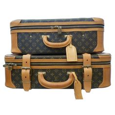 Louis Vuitton Logo Canvas Suitcase Suite in Impeccable Condition  France    This two-piece suite of Louis Vuitton travel bags in signature logo canvas and tan leather trim is in incredible condition. The perfect sizes for casual travel! #bags #fashion