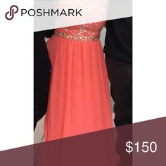Coral formal dress with beading Size 10 empire waist Dresses Prom