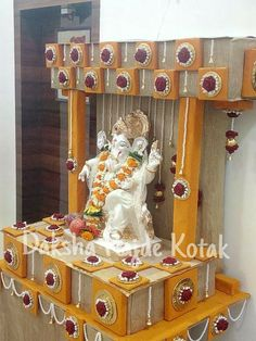 handmade floral decor is part of Ganapati decoration - Housewarming Decorations, Diwali Decorations, Flower Decorations, Ganpati Decoration Design, Ganesh Chaturthi Decoration, Janmashtami Decoration, Ganpati Festival, Board Decoration, Class Decoration