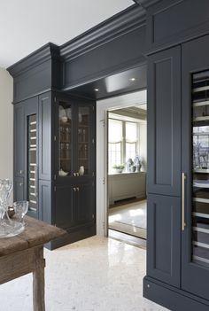 dark cabinets, small herringbone floor
