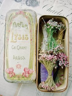 Delightful antique French perfume box filled w. Art Nouveau, Art Deco, Material Flowers, Vintage Soul, Pretty Box, Antique Bottles, Ribbon Work, Vintage Perfume, Vintage Flowers