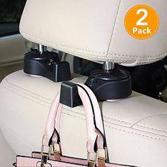 CHIDRA Universal Lockable Car Back Seat Headrest Hanger Holder Hook for Shopping Bag Purse Cloth Grocery Black /–2 Packs