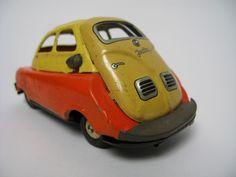 Isetta BMW Tin Toy Car Vintage Japan Friction