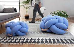 Medium Light Blue Cushion, Knot Floor Pillow, Modern Home Decor cushion, pouf ottoman, Meditation Pillow,