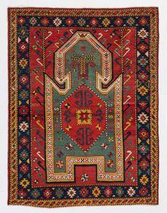 Rare Sewan Kazak Prayer Rug, 130x168 cm, A20, late 19th century