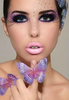 Pretty makeup with butterfly accents.