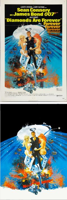 ROBERT McGINNIS - Diamonds Are Forever - 1974 United Artists - poster by fineart.ha.com - print by geekynerfherder.tumblr.com