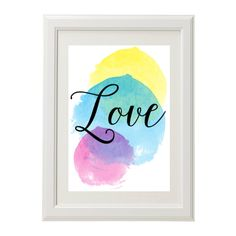 A beautiful watercolour love print for a beautiful pop of colour to your space.