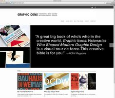 Web design to promote the book Graphic Icons: Visionaries Who Shaped Modern Graphic Design, by John Clifford