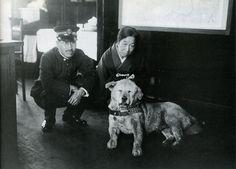 Hachiko ハチコ (November 10, 1923 - March 8, 1935) at the Shibuya Station 渋谷駅 with the stationmaster, Tokyo - Japan - c. 1933 Nippon-Graph