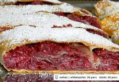Meggyes Rétes (Cherry Strudel) - cherries, cinnamon and almonds in the sheets of phyllo Hungarian Desserts, Hungarian Cuisine, Hungarian Recipes, Hungarian Food, Cherry Strudel Recipes, The Best, Dessert Recipes, Cooking Recipes, Hungary