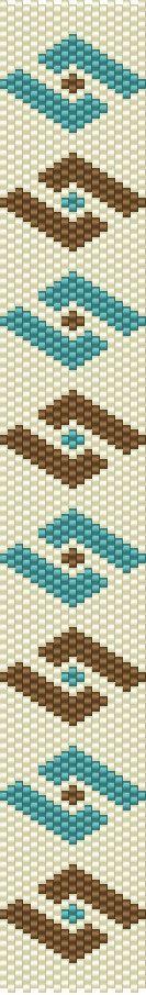 DIY Peyote Pattern Brown Blue Pattern Bracelet Beaded Cuff