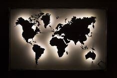 World Map Wall Decor, World Map Wall Art, Wall Maps, Room Interior, Interior Design Living Room, Room Ideas Bedroom, Bedroom Decor, Erde Tattoo, World Map Wallpaper