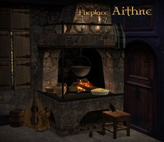 "The Medieval Smithy SIMS 2: Corner Fireplace ""Aithne"""