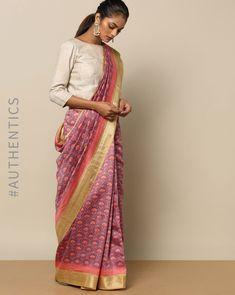 Buy Rudrakaashe-MSU Women Pink Pure Silk Tussar Printed Zari Border Saree | AJIO Saree Draping Styles, Saree Styles, Saree Blouse Patterns, Saree Blouse Designs, Bandhani Dress, Saree Wearing, Saree Trends, Kurti Neck Designs, Stylish Sarees