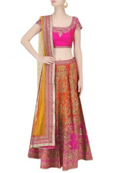 Ritu Kumar presents Orange and fuschia pink ombre embroidered lehenga set available only at Pernia's Pop Up Shop. Latest Designer Sarees, Designer Dresses, Lehenga Skirt, Ritu Kumar, Pernia Pop Up Shop, Indian Ethnic Wear, Indian Bridal, Indian Outfits, Elegant Dresses