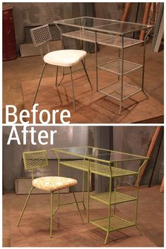 A coat of paint and new fabric for the chair gives this metal chair and desk set a new style.