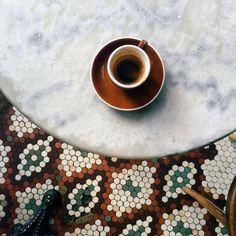 love the tile + marble. simplistic yet gorgeous shot