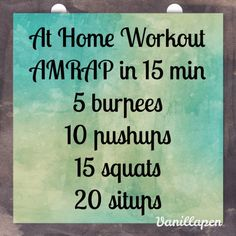 No equipment? No time? No problem. Here is a great 15 minute at home crossfit workout.