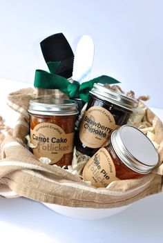 """With mouth-watering flavors like strawberry chipotle and carrot cake, these jams pair perfectly with a few kitchen utensils, a mixing bowl and pretty tea towel to make a classy anytime gift!"" - Craft Buds Blogs"