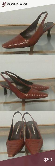 Maje Offer! Donald J Pliner Woven Slingbacks Hand Made in Spain; Brown Woven Toe Design. Donald J. Pliner Shoes Heels