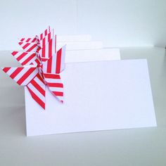 Striped Butterfly Place Cards, Origami Wedding Escort Cards - Favor sets of 20 - Stripes print any color