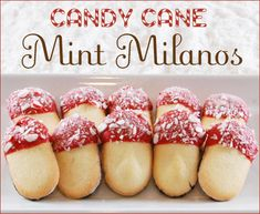 Candy Cane Mint Milanos You'll Need:  • Pepperidge Farm Mint Milano Cookies  • Red Candy Melts (available at Michaels)  • Round Peppermint Candies (or candy canes), crushed
