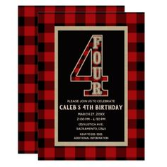 Rustic Red Black Buffalo Plaid 4th Birthday Party Card - invitations custom unique diy personalize occasions