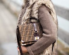 1bf630e018c9 fendi street style Fendi Clutch, Fendi Bags, Wendy s Lookbook, Faux Fur  Vests,