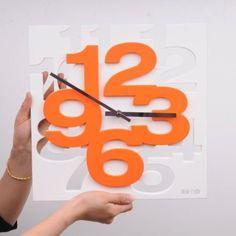 Amazon.com - Fashion New Modern 3D Unique Creative Wall Square Clock Home Decor orange