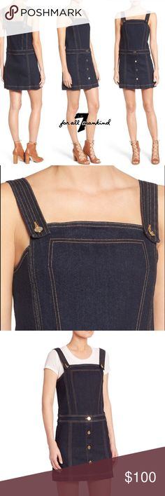 """7 FOR ALL MANKIND Pinafore Denim Dress Soft, lightweight stretch denim adds subtle texture to an easy-to-layer pinafore dress sewn with overall-style straps. Subtle hand sanding gives the dark wash gorgeous blue tones, while a row of buttons adds retro-chic style to the skirt. Approximate flat measurements: 33"""" long, 16.5"""" pit to pit. It's a size Small although it's not noted on dress. It could fit a medium. Hidden side zipper; front button closure. Adjustable button straps. 98% cotton, 2%…"""