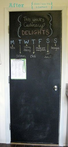 Back door going to the garage is metal...it is also smooth...great for a grocer list AND a kids' doodle area!