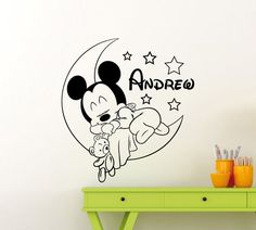 name wall stickers on sale at reasonable prices, buy Personalized Custom Mickey Mouse Wall Decal Nursery Custom Baby Name Cartoon Home Decor Kids Girl Boy Room Wall Sticker from mobile site on Aliexpress Now! Mickey Mouse Wall Decals, Mickey Mouse Nursery, Baby Wall Stickers, Baby Mickey Mouse, Kids Wall Decals, Nursery Wall Decals, Nursery Room, Cartoon Wall, Boy Room