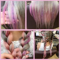 WEBSTA @ ellixxxxxxx -  #hair#haircolor#hairstyles #manicpanic#dyehard#rapunzel#longhair#hairsalon#ラプンツェルカラー#ラプンツェル#pink#ash#purple#マニックパニック#マニパニ#spiceheads知立#ellimatsuyama#クレオローズ#ウルトラバイオレット#ファンシー#fancy#pastel #パステル