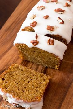 Carrot Cake ~~~ Easy recipe for a moist carrot CAKE LOAF, topped with a sweet and tangy classic cream cheese frosting