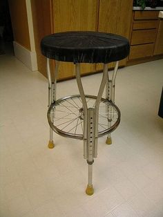 Recycled crutches into a stool!