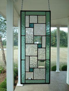 Stained Glass Panel Seafoam Green Window. $65.00, via Etsy.